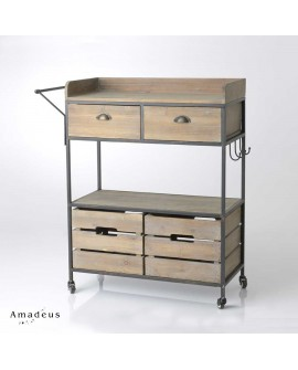 Desserte de style industriel bois et métal AMD135 2 casiers 2 tiroirs