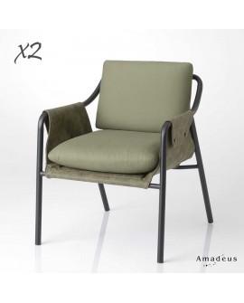 Lot de 2 fauteuils contemporain kaki AMF5455 métal et tissu