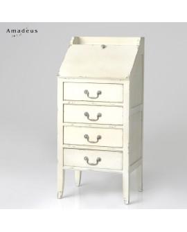 Secrétaire shabby chic de style contemporain AMS131 4 tiroirs