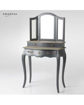 Coiffeuse 3 miroirs 3 tiroirs AMC186 style baroque chic anthracite et bois marque AMADEUS