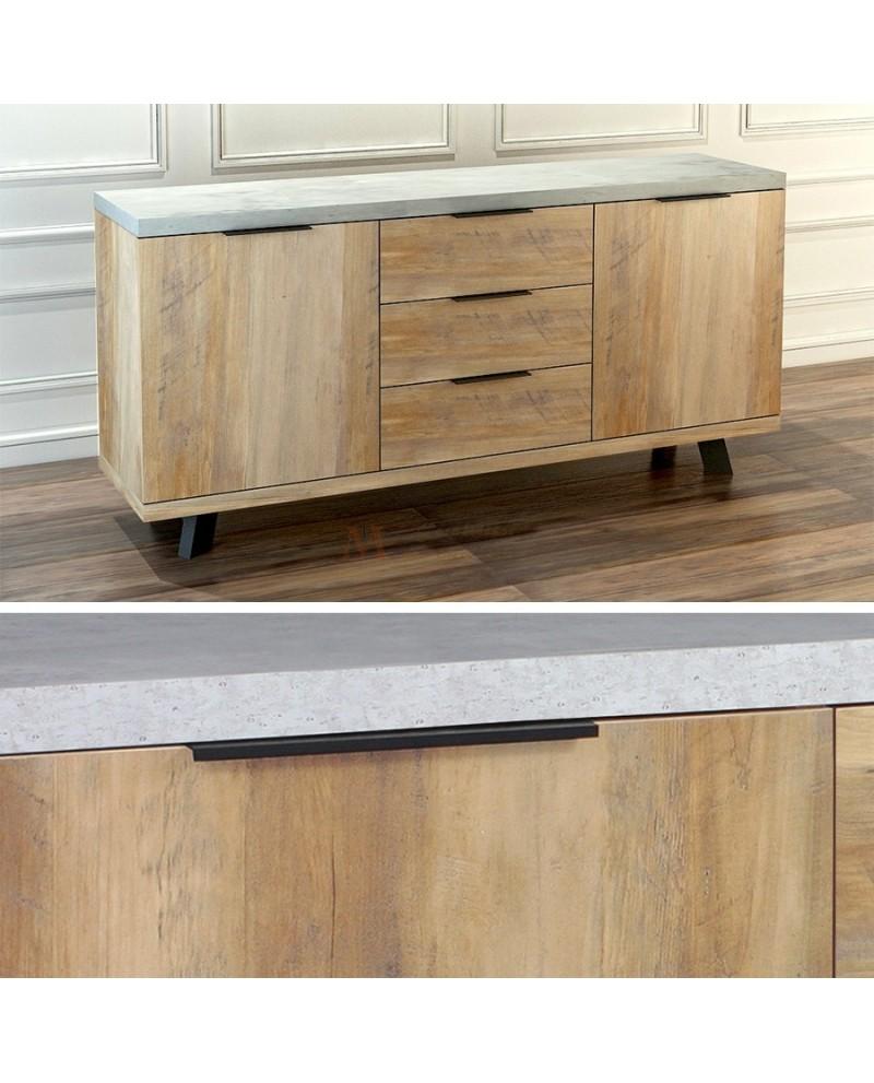Enfilade contemporaine effet béton et chêne 2 portes 3 tiroirs