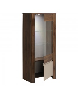 La porte ouverte du vaisselier TOULOUSE montre les 2 tablettes en verre et la grande niche