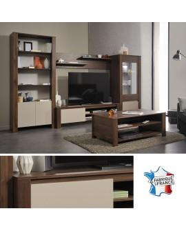 Ensemble mural TV noyer et mastic TOULOUSE bibliothèque vitrine meuble TV  et étagères