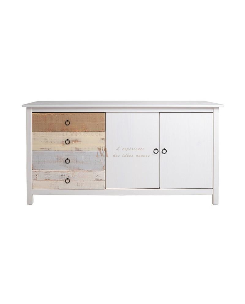 enfilade pin massif blanchi 2 portes 4 tiroirs multicolores. Black Bedroom Furniture Sets. Home Design Ideas