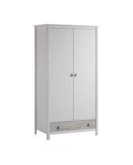 Armoire 2 portes 1 tiroir FABIAN style tendance pin blanchi façade tiroir laquée