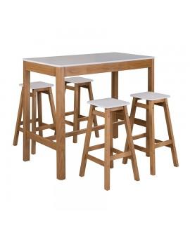 Ensemble repas table rectangulaire PHOENIX bois de pin naturel plateau laqué blanc