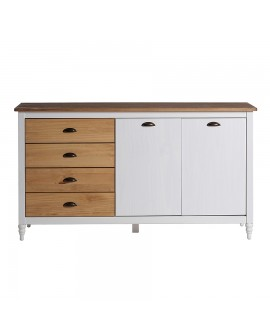 Buffet enfilade IRENE pin massif blanchi 4 tiroirs pin naturel
