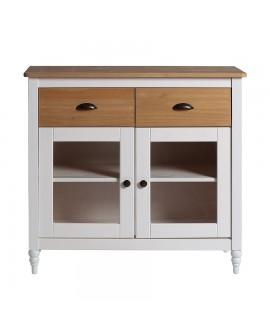 buffet campagne chic laqu blanc 2 portes vitr es 2 tiroirs. Black Bedroom Furniture Sets. Home Design Ideas