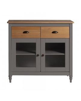 Buffet campagne chic IRENE pin massif gris 2 portes vitrées 2 tiroirs