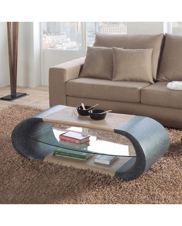 Table basse design moderne tablette verre d cor granit fr ne - Table de salon moderne ...