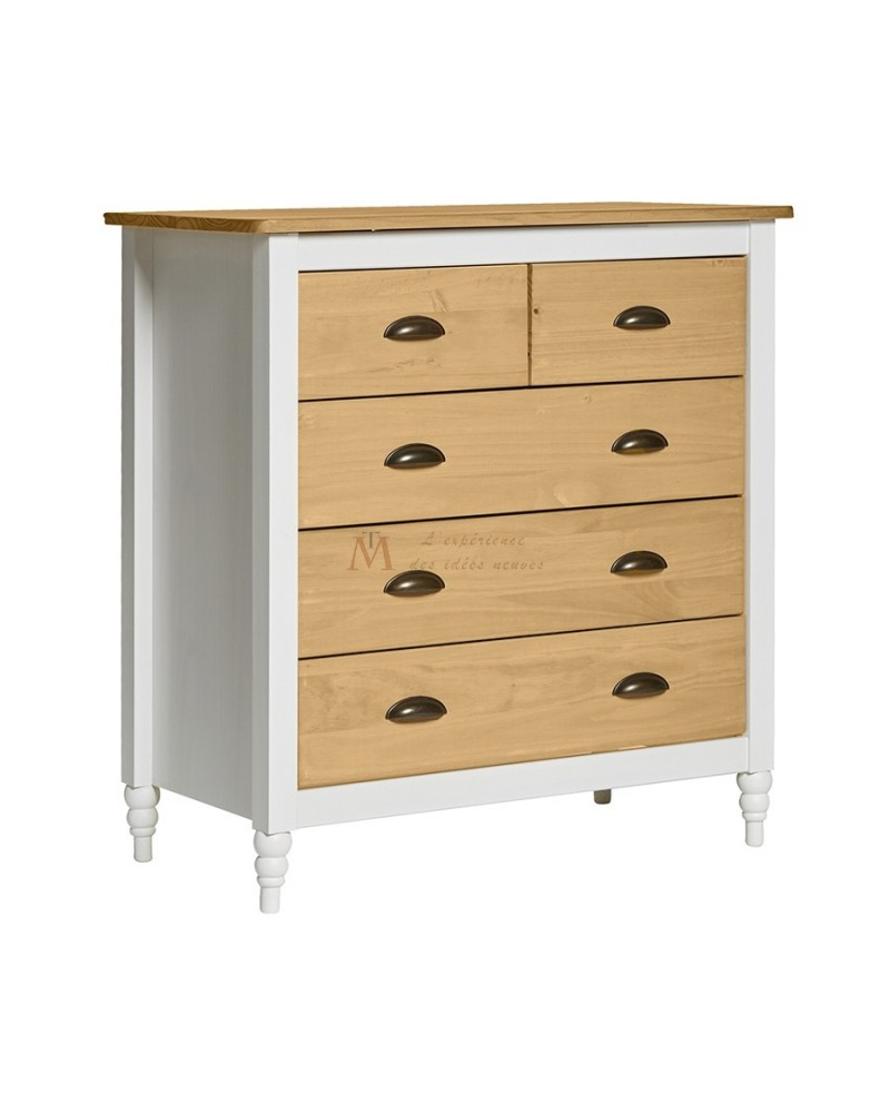 Commode style campagne chic laque blanche 5 tiroirs pin ciré