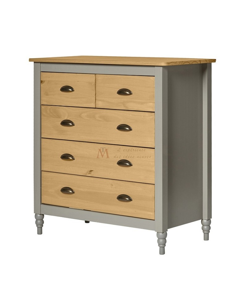 Commode style campagne chic laque grise 5 tiroirs pin naturel