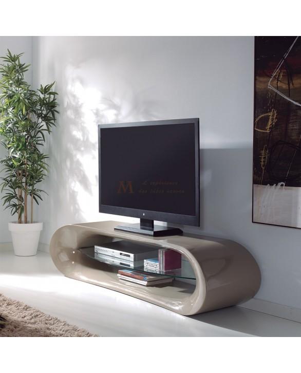 meuble t l vision design 160 cm taupe brillant tag re verre. Black Bedroom Furniture Sets. Home Design Ideas