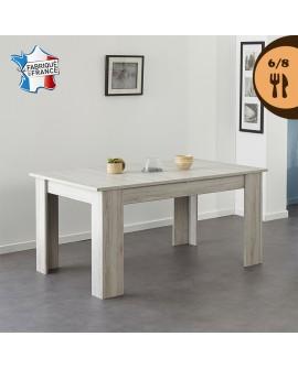 Table repas contemporaine LIFE décor chêne gris pour 6 à 8 couverts
