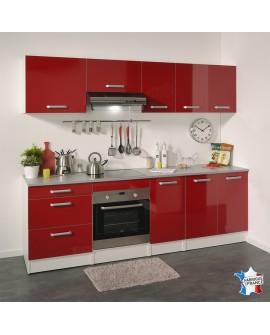 Ensemble cuisine moderne rouge et blanche GAIA 8 éléments