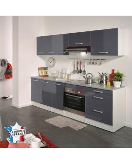 Ensemble cuisine moderne grise et blanche GAIA 8 éléments poignées métal