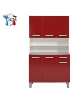 Buffet de cuisine 6 portes 1 tiroir GAIA rouge brillant et blanc fabriqué en France