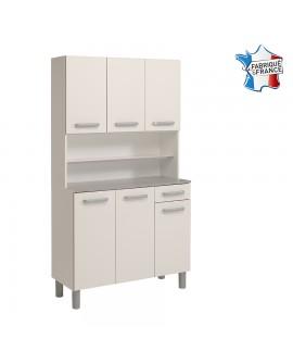 Buffet de cuisine 6 portes 1 tiroir GAIA3 blanc brillant fabriqué en France