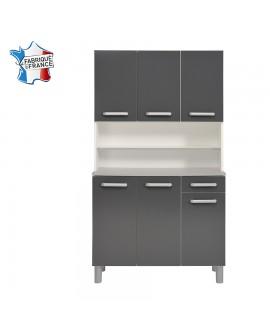 Buffet de cuisine 6 portes 1 tiroir GAIA2 gris anthracite brillant fabriqué en France