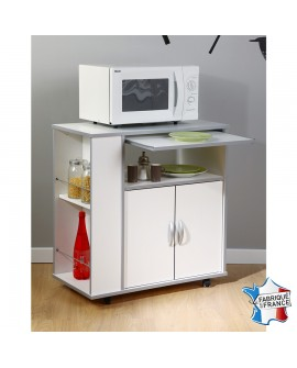 Meuble desserte à micro ondes sur roulettes EASY 2 niches 2 portes 1 tablette