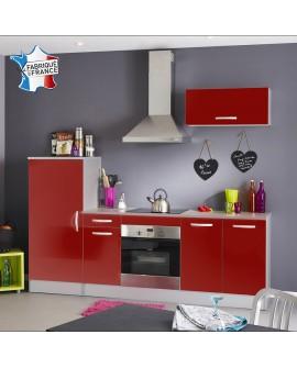 Ensemble cuisine moderne rouge et gris TWIST 3 éléments à monter