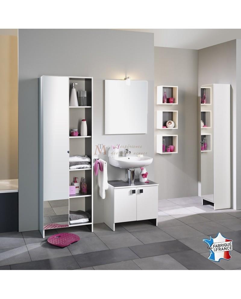 Ensemble salle de bain ZURICH sous lavabo miroir 3 caissons 2 armoires