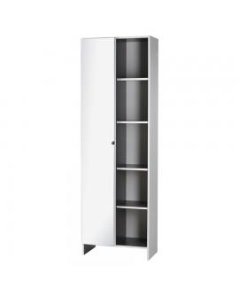 Armoire de salle de bain mélaminée blanc 1 porte avec miroir 5 niches ZURICH
