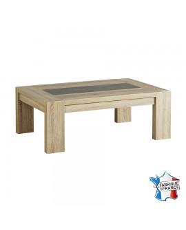 Table basse contemporaine MAGALIE décor chêne brut et béton