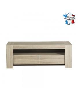 Meuble télévision 2 tiroirs MAGALIE décor chêne fabriqué en France