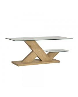 Table basse contemporaine chêne et verre CELIA double plateau