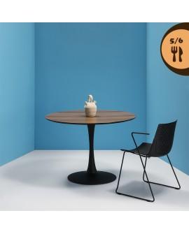 Table ronde 110 cm plateau décor noyer pied central métal laqué noir HILANA2