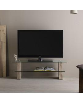 Meuble TV contemporain tablettes verre trempé avec montants chêne NATACHA