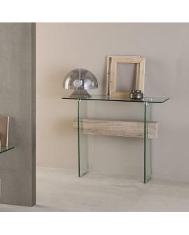 Console de salon ou d'entrée NATACHA verre trempé et décor chêne