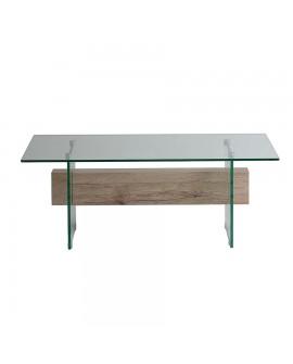 Table basse contemporaine verre trempé avec entretoise décor bois NATACHA