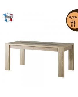 Table repas contemporaine 8 à 10 couverts MAGALIE décor chêne brut et béton