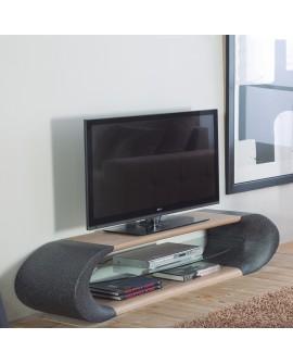 Meuble télévision décor granit et frêne tablette verre GEORGIA
