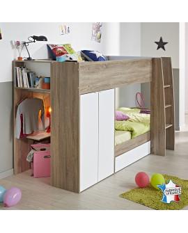 Vue 3/4 des lits superposés gain de place SIERRA coloris chêne et blanc