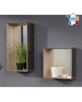 Deux étagères déco carrée et rectangulaire avec miroir SALIA