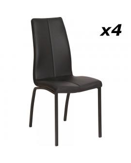Lot de 4 chaises repas modernes simili cuir noir pieds métal noir CLARA