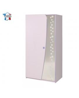 Armoire 2 portes lilas CREA bouton paillette décor flocons sur miroir