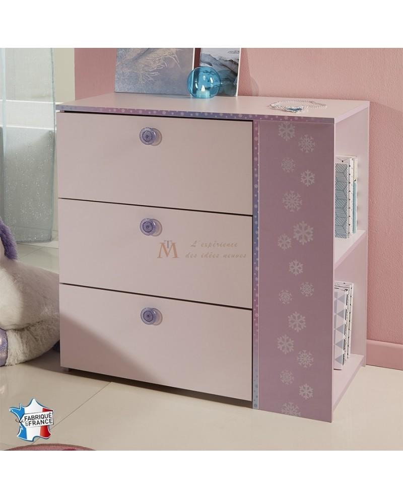 Commode dragée et lilas CREA 3 tiroirs à boutons paillette décor flocons