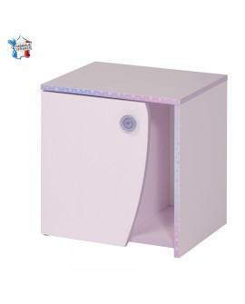 Chevet dragée et lilas CREA 1 porte 1 niche boutons paillette décor flocons