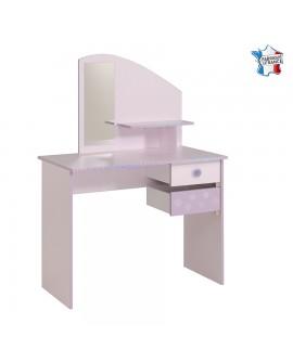 Bureau princesse dragée et lilas CREA 2 tiroirs pivotant à boutons paillette décor flocons