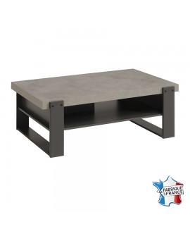 Table basse rectangulaire avec tablette de rangement CANDICE teinte béton style industriel