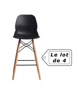 Tabouret design hêtre massif assise résine noire RAQUEL