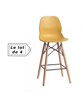 Tabouret design hêtre massif assise résine jaune RAQUEL
