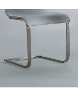 4 Chaises Design Bois Assise Polyurethane Blanc Pied Metal