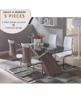 Ensemble salle à manger table plateau verre 4 chaises design ARTEMIS