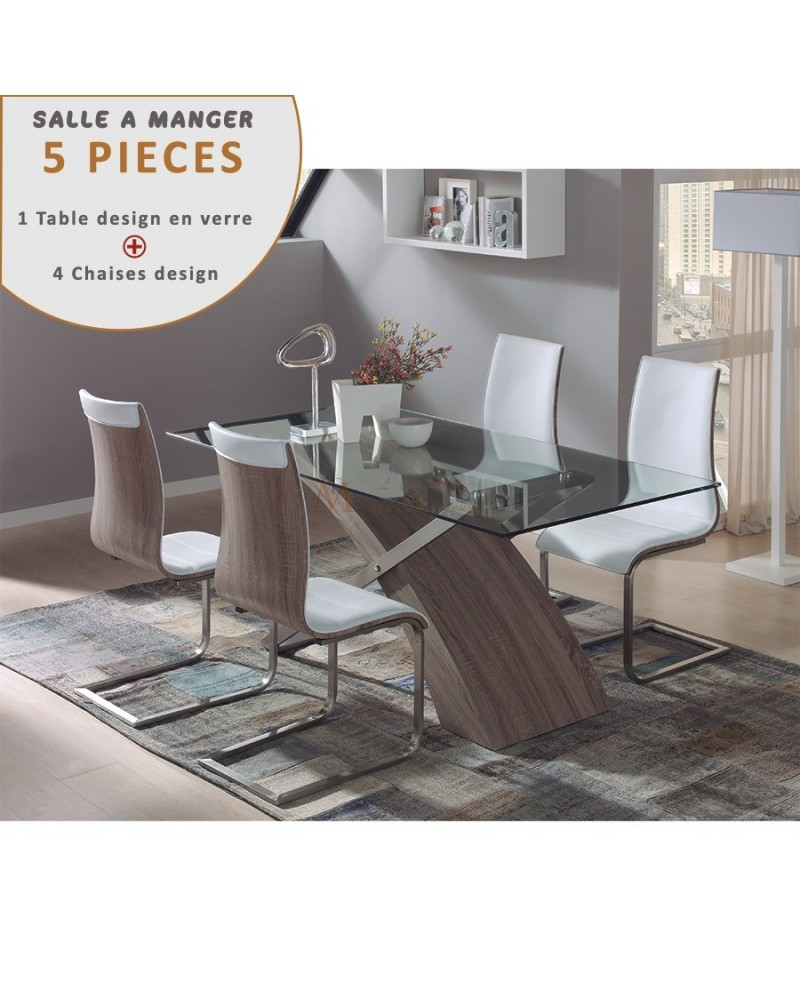 ensemble repas table verre 200cm pied bois acier 4 chaises. Black Bedroom Furniture Sets. Home Design Ideas