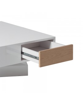 Table basse design plateau rotatif laque brillant 2 tiroirs for Planche bois laque blanc brillant